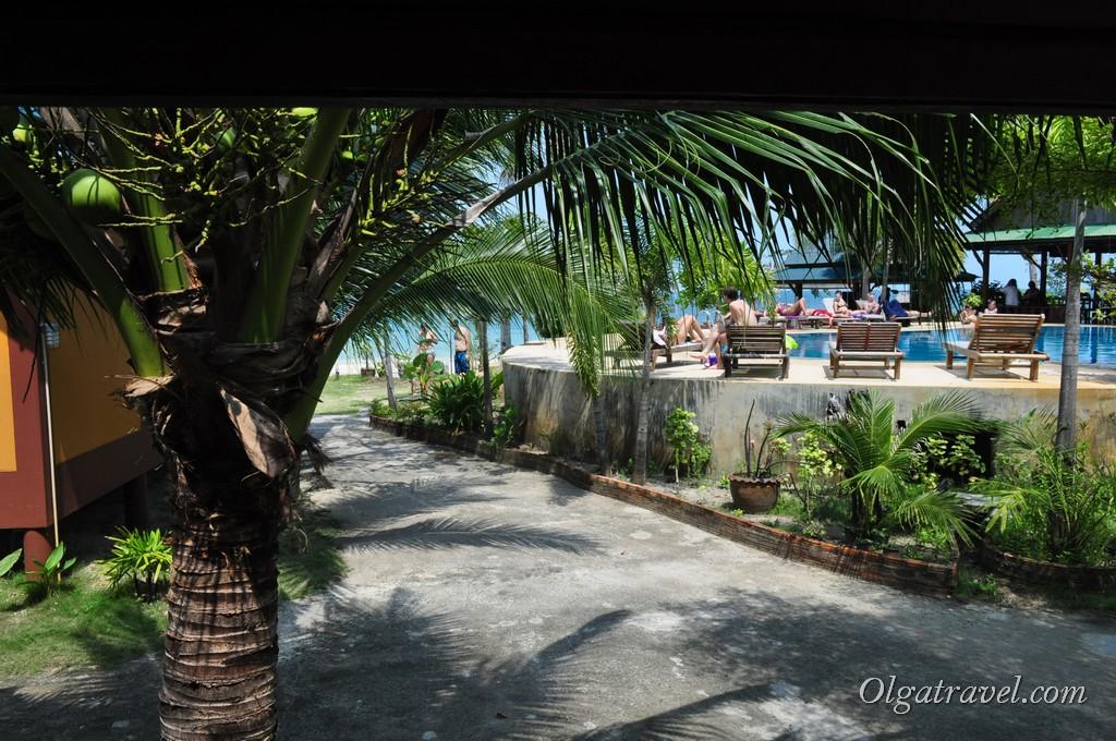 Вид с веранды на кусочек бассейна  и кусочек моря