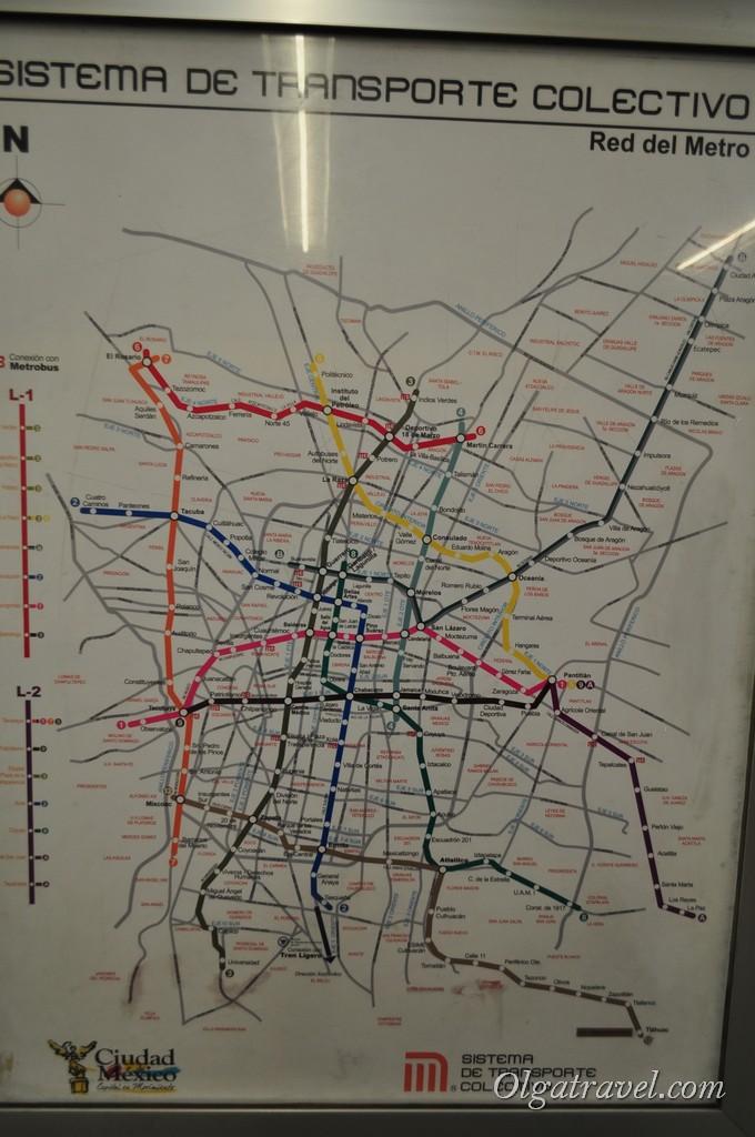 На метро.