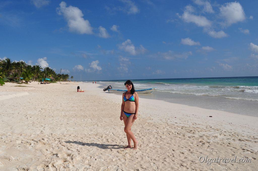 В Тулуме очень красивый пляж