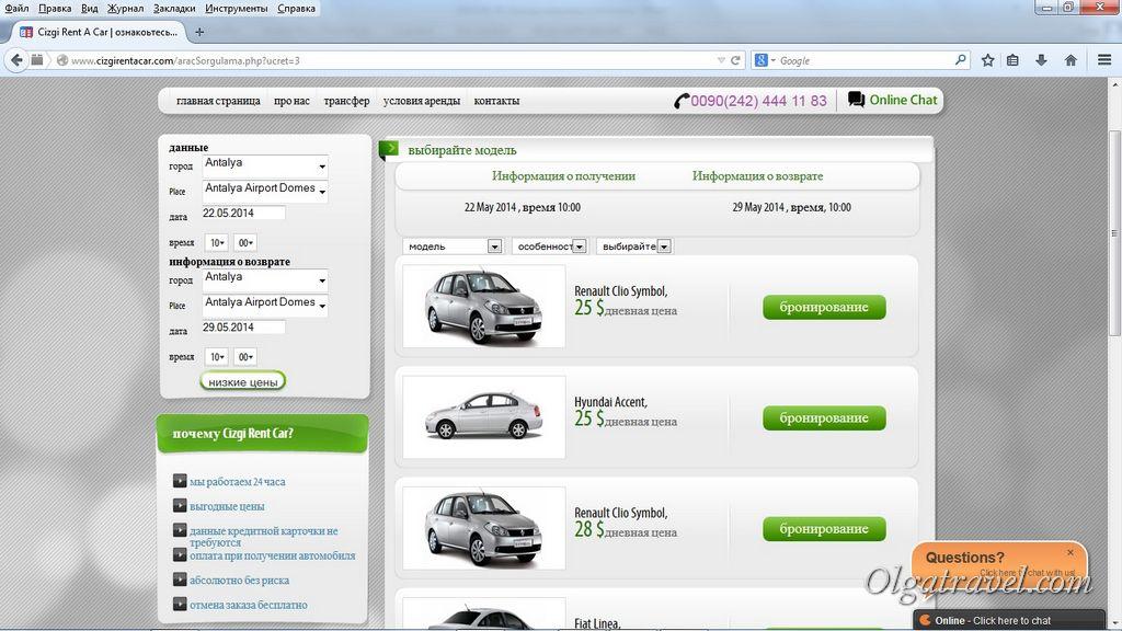 Список доступных машин с ценами за сутки