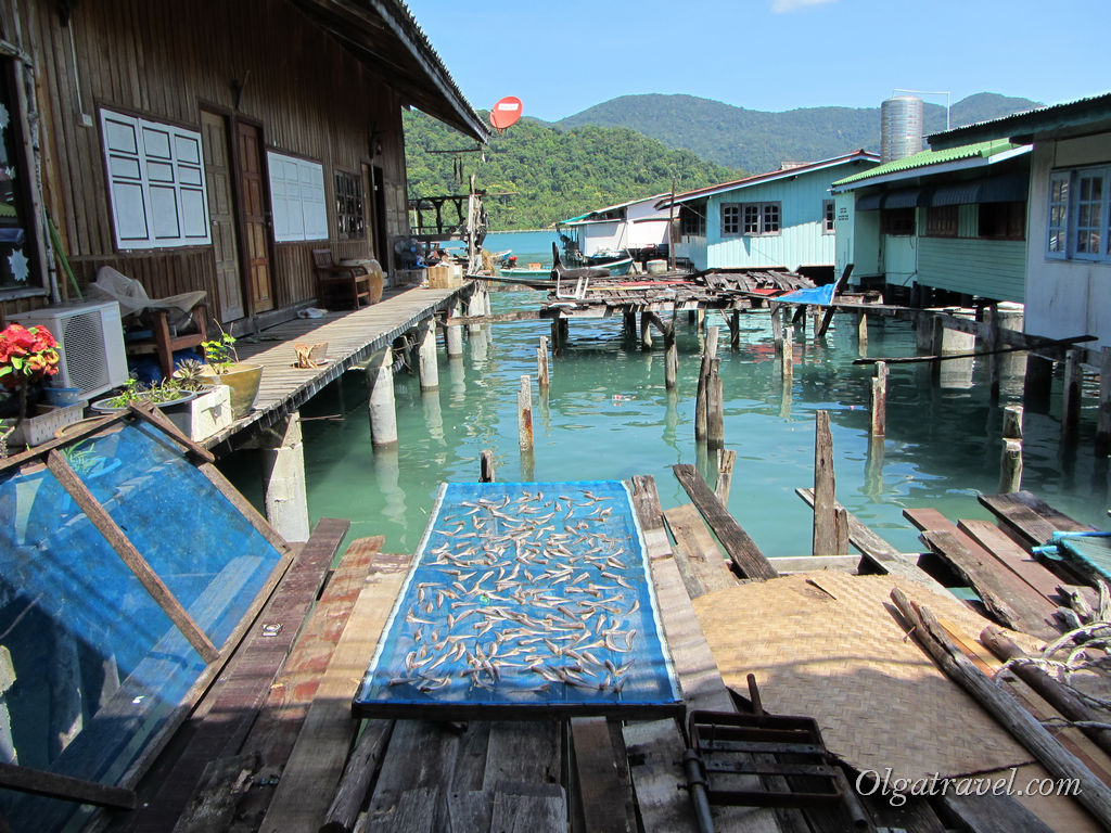 Стандартный пейзаж деревни рыбаков: домики на воде и сушка рыбы :)