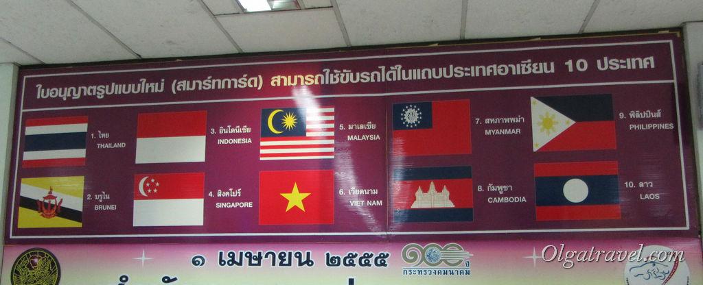 Вот в этих странах действительны тайские права