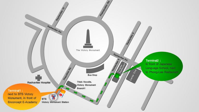 Схема отправления маршруток в Пататйю от монумента Победы в Бангкоке
