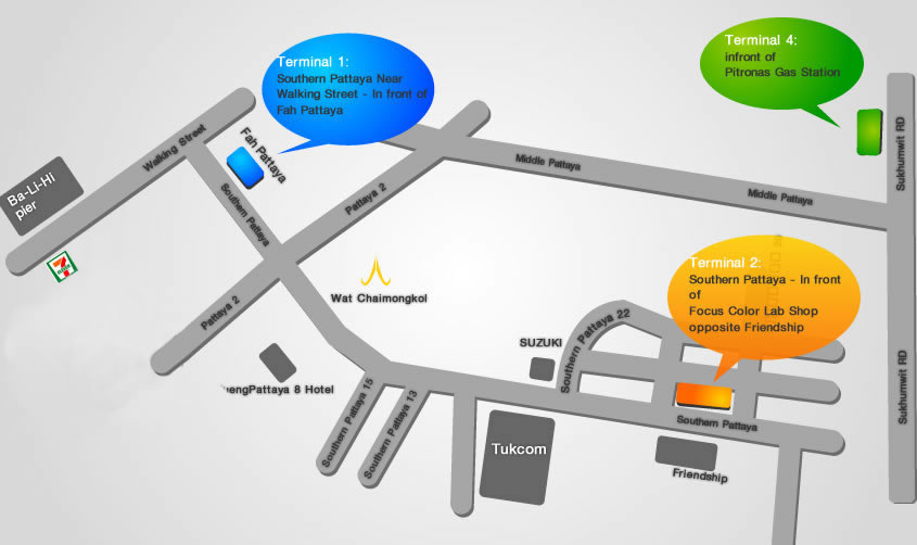 Схема отправления минивенов из Паттайи в Бангкок