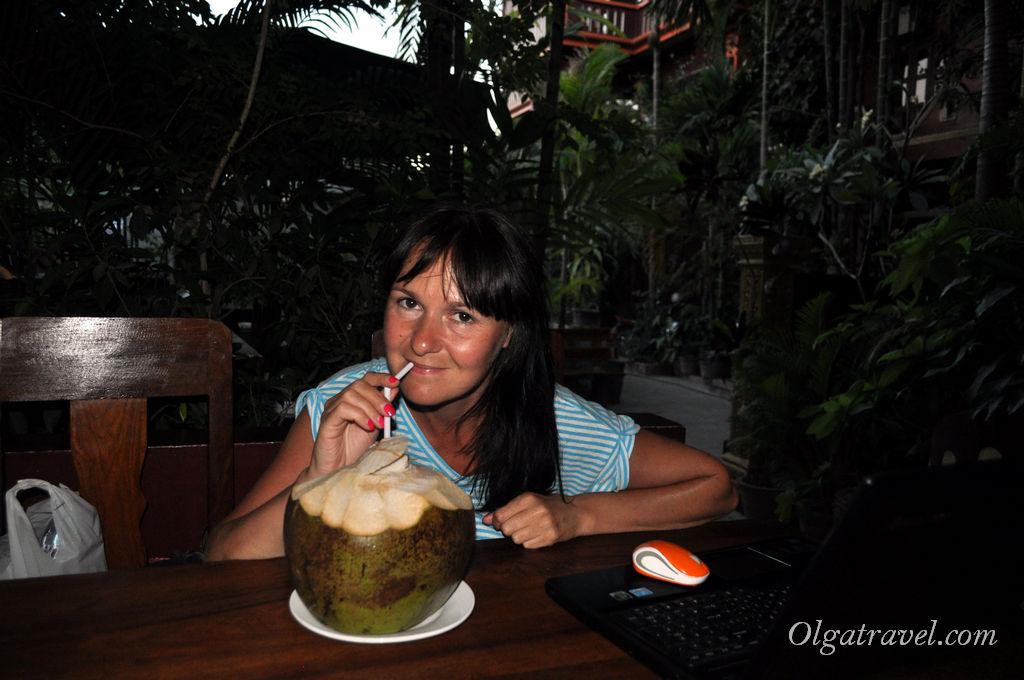 В ресторанчике отеля: огромный кокос, как и везде в Сием Рипе 1 $