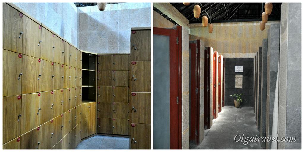 Огромная раздевалка со шкафчиками, туалетами и душевыми