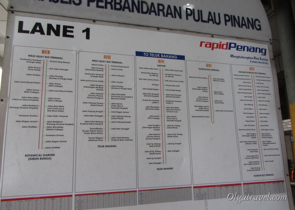 маршруты автобусов Пенанг