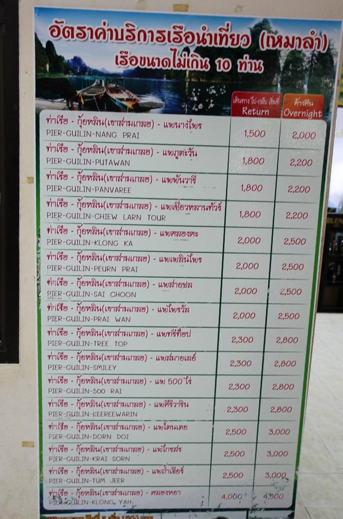 цены на лодку на озере Чео Лан