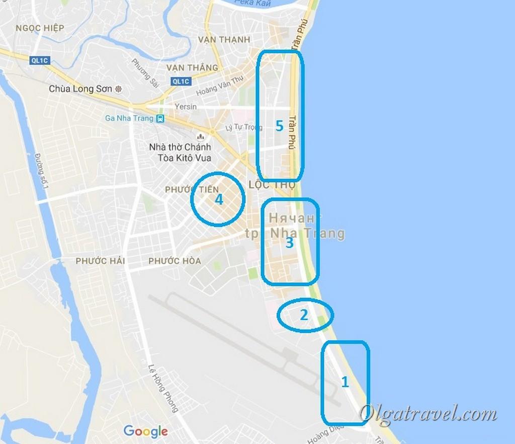 районы нячанга на карте