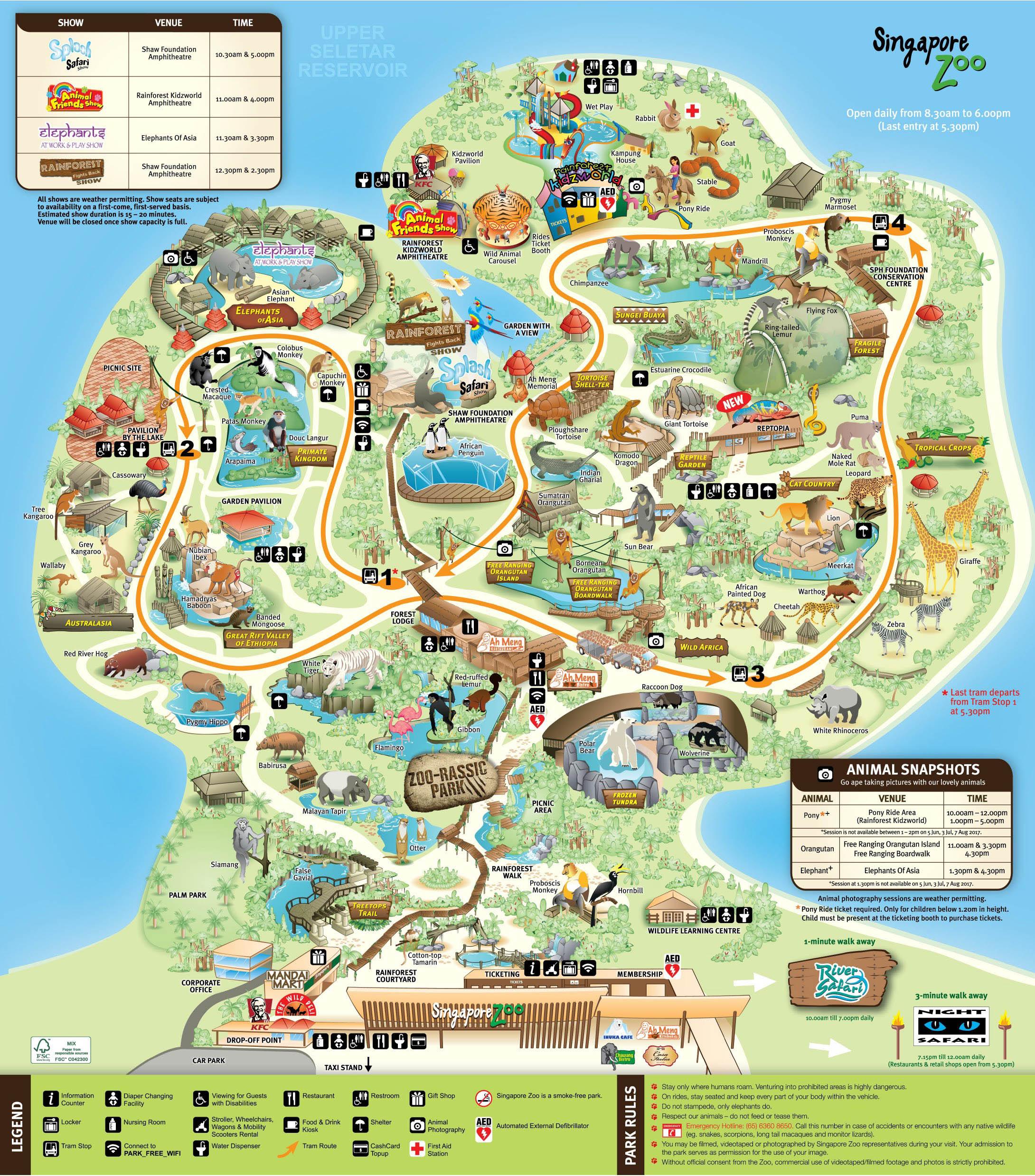 карта схема зоопарка в сингапуре