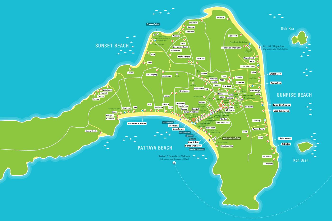 карта острова ко липе